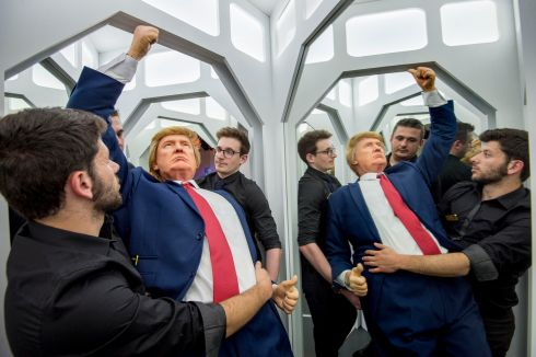 President Donald Trump gets installed in the new National Wax Museum in the Lafayette Building on Westmoreland St. Dublin. Photograph: Brenda Fitzsimons / The Irish Times