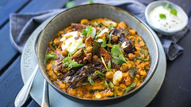 Indian dahl with roast sweet potatoes, red onion and chickpeas