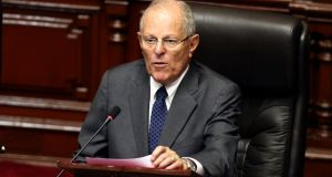 Peru's president, Pedro Pablo Kuczynski, whose administration denied it offered a pardon for jailed former dictator Alberto Fujimori in exchange for votes to save his mandate. Photograph: Mariana Bazo/Reuters