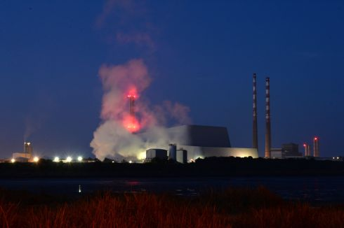 Steam coming out of the new Poolbeg incinerator, view from Sandymount, Dublin in November. Photograph: Dara Mac Donaill / The Irish Times