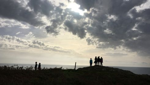 Two weeks after Hurricane Ophelia a family walking on Bank Holiday Monday at Preghane Point near Kinsale Co. Cork stop to gaze out at calm waters and clear skies. The area took a severe beating from the hurricane a fortnight previously.  Photograph : Bryan O'Brien / The Irish Times