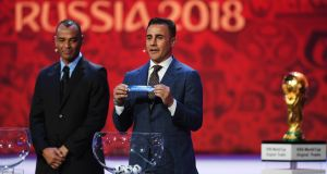 Lowest-ranked team Saudi Arabia are drawn against Russia in the 2018 World Cup. The second- and third-lowest ranked teams were also, coincidentally, drawn against Russia. Photograph: Shaun Botterill/Getty Images