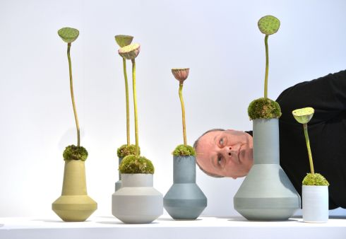 Master florist Lamber de Bie at Farmleigh Gallery to celebrate VASE, an international display of contemporary vessels overseeing a selection of Derek Wilson Vases as part of  his special floral installation in February.  Photograph: Alan Betson / The Irish Times