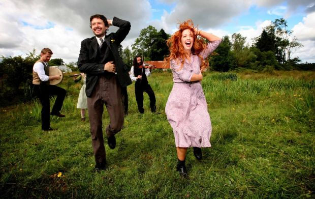 The cast of the Abbey Theatre's Jimmy's Hall visiting the site of the original hall and the ruin of Jimmy Gralton's home in Effrinagh, Co.Leitrim in July. Photograph: Brian Farrell