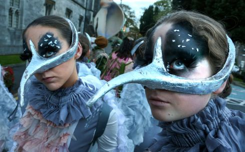 Dancers at the start of the Macnas Halloween Parade, Song of the Spirits, at NUI Galway in October.  Photograph: Joe O'Shaughnessy