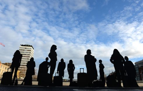 Scene on Rosie Hackett Bridge in Dublin in January during an art project  led by artist and activist Will St Leger to highlight the journey experienced by women and girls forced to travel outside Ireland to access abortion services.    Photograph: Dara Mac Donaill / The Irish Times