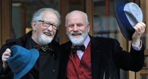 Matt Murphy (85) and Michael O'Sullivan (58) pictured got married in Dublin on Friday to avoid inheritance tax. Photograph: Collins