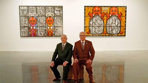 "Gilbert Proesch and George Passmore at the press preview of their latest exhibition entitled ""The Beard Pictures and Their Fuckosophy"" at The White Cube, Bermondsey, London. Photograph: Christopher Furlong/Getty Images"