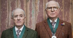 Gilbert & George after receiving their medals at the Royal Academy of Arts in May. The election of two people as one artist member is the first of its kind in the history of the Academy. Photograph:  Tristan Fewings/Getty Images