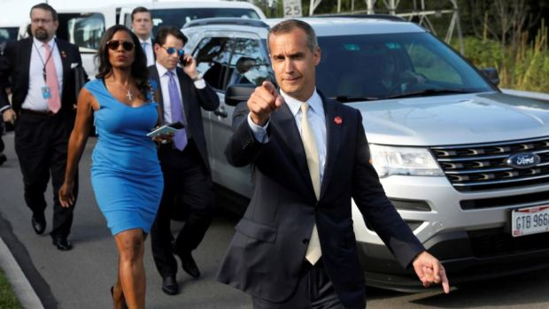 Trump campaign: Corey Lewandowski with former White House staff Sebastian Gorka, Omarosa Manigault and Anthony Scaramucci. Photograph: Jonathan Ernst/Reuters