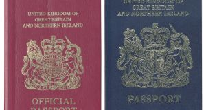 An undated handout photo of burgundy and blue United Kingdom passports. Photograph: New York Times