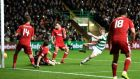 Jonny Hayes scores his Celtic's second goal e during the Scottish Premiership match against Aberdeen at Celtic Park. Photograph: Ian Rutherford/PA Wire