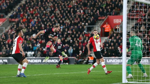 Huddersfield Town's Laurent Depoitre scores his side's goal in the Premier league game against Southampton at St Mary's. Photograph: Adam Davy/PA Wire