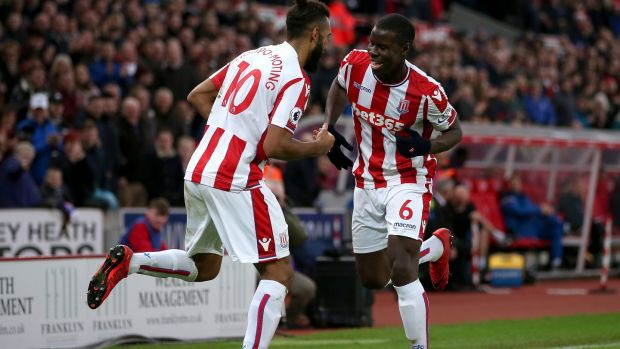 Maxim Choupo-Moting of Stoke City celebrates after scoring his side's second goal with Kurt Zouma in the Premier League game against West Brom at the Bet365 Stadium. Photograph: Alex Morton/Getty Images