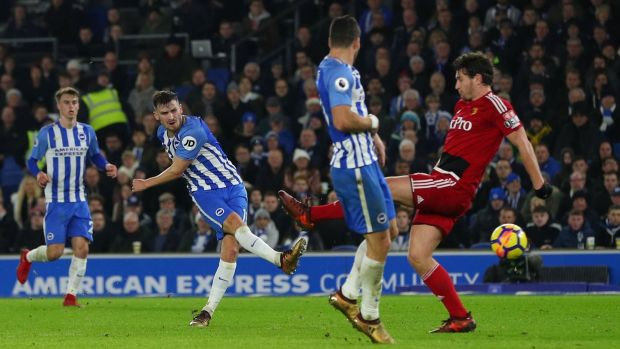 Brighton's Pascal Gross scores in the premier League game against Watford at the American Express Community Stadium. Photograph: Hannah McKay/Reuters