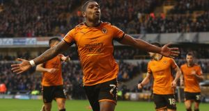 Ivan Cavaleiro of Wolves celebrates scoring their goal during the Sky Bet Championship match against  Ipswich Town at Molineux. Photograph: Christopher Lee/Getty Images