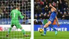 Harry Maguire of Leicester City scores his team's late equaliser in  the Premier League match against Manchester United at The King Power Stadium. Photograph: Michael Regan/Getty Images