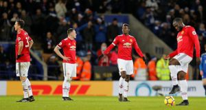 Manchester United's players look dejected during the Premier League game against Leicester City at the   King Power Stadium.   Photograph: Darren Staples/Reuters