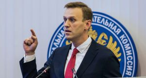 Russian opposition leader Alexei Navalny gestures while speaking at the Russia's Central Election commission in Moscow, Russia, yesterday. Russian election officials have formally barred him from running for president. Photograph: Evgeny Feldman/Navalny Campaign/AP