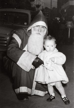 1956 - My first visit to Santa in 1956 (aged one year) - Lydia Varley. Images from the second Man on Bridge book published late 2017 - Man on the Bridge -  More Photos by Arthur Fields, compiled by Ciaran Deeney and David Clarke