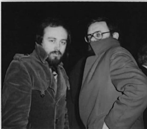 1979 - Myself (left) and Tom Hartley, coming from the Sinn Féin ard fheis and looking very conspiratorial! Thispicture was taken in O'Connell Street, near the bridge. Both of us are now authors and Tom later became Mayor of Belfast. -  Danny Morrison