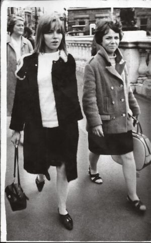 1965  - This photo of my friend Noeleen Byrne (right) and myself was taken in 1965 one Saturday on one of our weekly trips into town. We were on our way to shop in She Gear boutique, which was on the top floor of Roches Stores in Henry Street. This boutique was very popular with teenage girls at the time as it sold all the latest fashions, including Mary Quant black and white nail polish, which we loved. Sometimes we just browsed and listened to the music they played (all the latest hits). We were about fifteen at the time and weren't allowed into town at night. Taking the number 78 bus into town every Sunday to meet up with friends in Cafolla's café was one of the highlights of our week. Sometimes we went to Morosini-Whelan's in Henry Street to dance to a band called The Creatures. This was next door to Arnotts, where I worked as an apprentice carpet sewer. We also went to the Adelphi, Savoy or Capital cinemas to watch the latest films. This photo brings back so many good memories. -  Noeleen Baneham