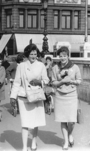 1962 - Myself , Marie Greene (now Marie Quinn), on the left  and Ann Kerr. This was the first time we met up after leaving school in 1961. Ann went to nurse at Portiuncula Hospital and I went to nurse in the Channel Islands. It was my first holiday back in Dublin and I met up with Ann, my old school friend, on her day off work. We had a lovely day in Dublin and were delighted with our photo -  Marie Quinn
