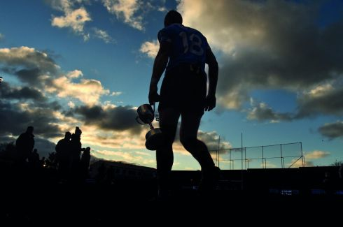 The GAA season of 2017 captured by the Sportfile team - 1 January 2017 - Ciaran Reddin captain of Dublin with the cup at the end of the Football Challenge game between Dublin and Dubs Stars at Parnell Park in Dublin.  Photograph: David Maher/Sportsfile