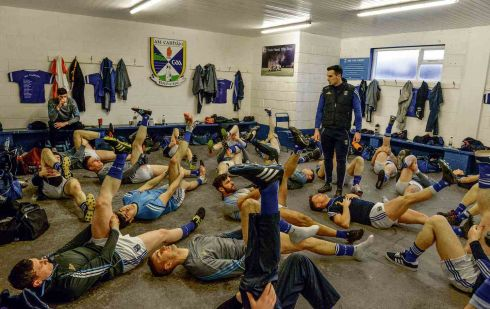 8 January 2017 - The Cavan squad stretching in the changing rooms before the Bank of Ireland Dr. McKenna Cup Section C Round 1 match between Cavan and Tyrone at Kingspan Breffni Park in Cavan. Photograph: Oliver McVeigh/Sportsfile