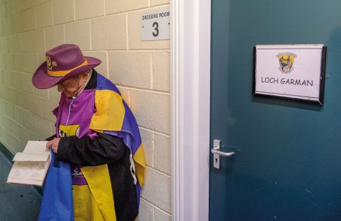 12 February 2017 - Wexford supporter John Thomas, from Wexford town, waits outside the dressing-room for autographs after the Allianz Hurling League Division 1B Round 1 game between Wexford and Limerick at Innovate Wexford Park in Wexford.   Photograph: Daire Brennan/Sportsfile