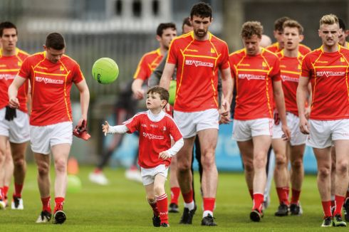 21 May 2017 -  Conal Kelly, son of Louth manager Colin Kelly, during the warm-up before the Leinster GAA Football Senior Championship Round 1 match between Louth and Wicklow at Parnell Park in Dublin. Photograph: Piaras Ó Mídheach/Sportsfile