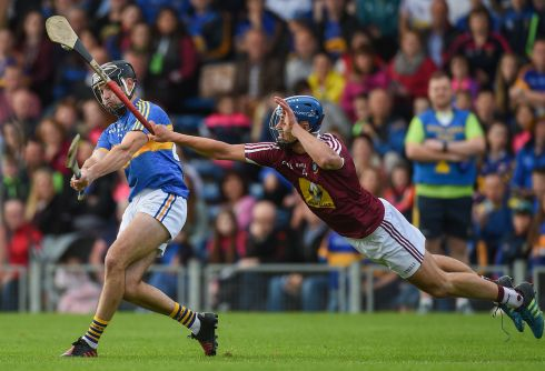 1 July 2017 -  Aidan McCormack of Tipperary is blocked down by Gary Greville of Westmeath during the GAA Hurling All-Ireland Senior Championship Round 1 match between Tipperary and Westmeath at Semple Stadium in Thurles, Co Tipperary. Photograph: Diarmuid Greene/Sportsfile