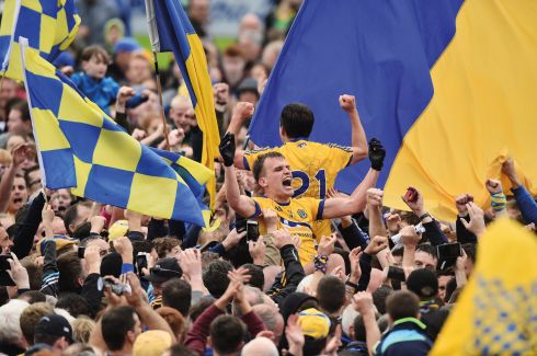 9 July 2017 -  Enda Smith of Roscommon celebrates with supporters at the end of the Connacht GAA Football Senior Championship Final match between Galway and Roscommon at Pearse Stadium in Salthill, Galway.  Photograph:  David Maher/Sportsfile