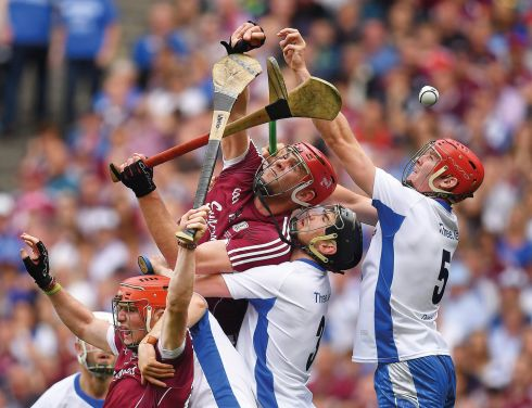 3 September 2017 - Conor Whelan, left, Jonathan Glynn of Galway, contest possession with Noel Connors, Barry Coughlan and Tadhg de Burca of Waterford during the GAA Hurling All-Ireland Senior Championship Final match between Galway and Waterford at Croke Park in Dublin.   Photograph: Brendan Moran/Sportsfile