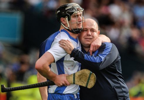 3 September 2017 - Pauric Mahony of Waterford and his manager Derek McGrath dejected after the GAA Hurling All-Ireland Senior Championship Final match between Galway and Waterford at Croke Park in Dublin. Photograph: Piaras Ó Mídheach/Sportsfile