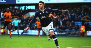 Lee Gregory of Millwall celebrates scoring against Wolves at The Den. Photograph: Jordan Mansfield/Getty Images