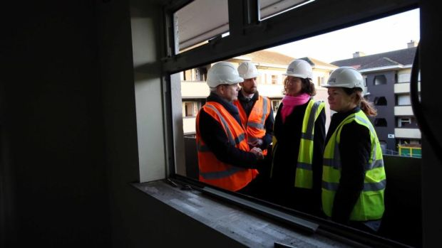 Paschal Donohoe: the Minister for Finance – visiting Cluid Housing's redevelopment of St Mary's Mansions in Dublin with Minister for Housing Eoghan Murphy – knows the Government will be judged on how it handles the housing crisis. Photograph: Mark Stedman