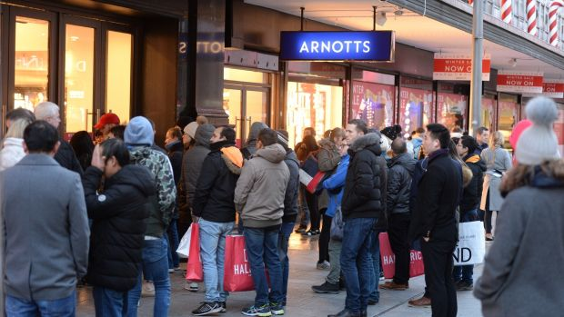 Queueing for Arnotts Winter Sale on St Stephen's Day at Henry Street, Dublin. Photograph: Dara Mac Dónaill/The Irish Times