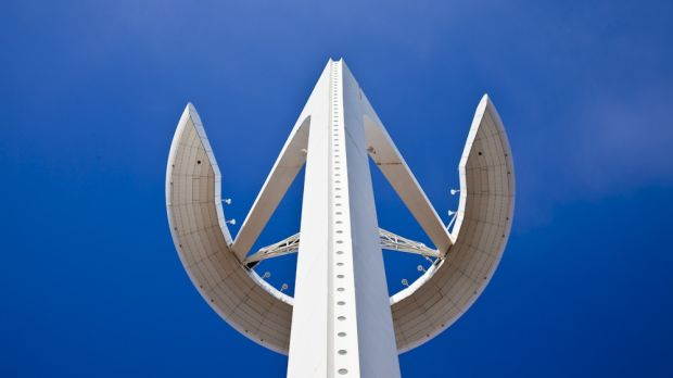 The Montjuic Communications Tower, also known as the Torre Telefonic. Photograph: Margarethe Wichert/Getty Images