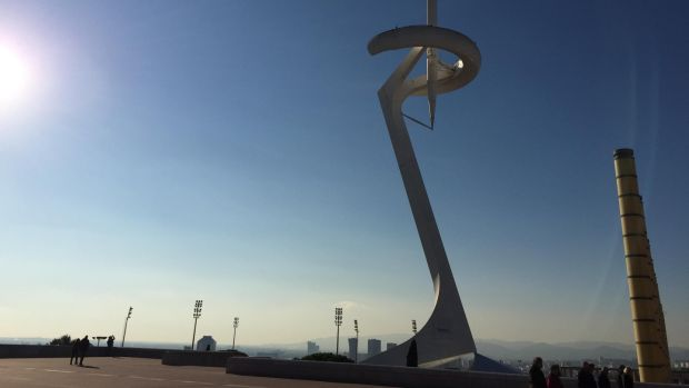 The Montjuïc Telecommunications Tower, built for the 1992 Olympics, overlooking Barcelona. Photograph: Guy Hedgecoe