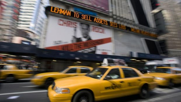 Lehman Brothers: in September 2008 the US firm went bust and the financial world had a heart attack. A few weeks later came the Irish bank guarantee. Photograph: Jeremy Bales/Bloomberg