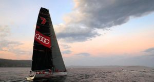 Australian super-maxi Wild Oats XI sails towards the finish line to win the annual 630 nautical miles (1166 kilometres) Sydney to Hobart Yacht Race. Photograph: Reuters