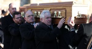 The funeral of Dr Maurice Hayes proceeds at  St Patrick's Church, Downpatrick, Co Down following his death, aged 90, two days before Christmas. Photograph: Niall Carson/PA Wire
