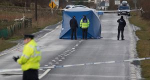 Gardaí erected a tent at the scene in order to carry out an on-site examination. Photograph: North West Newspix