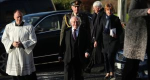 President Michael D Higgins attends the funeral of Dr Maurice Hayes at St Patrick's Church, Downpatrick, Co Down following his death, aged 90, two days before Christmas. Photograph: Niall Carson/PA Wire