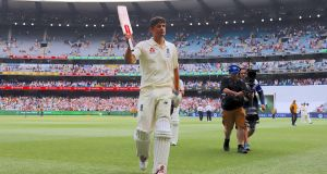 England's Alastair Cook at the end of the third day of the fourth Ashes Test match in Melbourne. Photograph: David Gray/Reuters