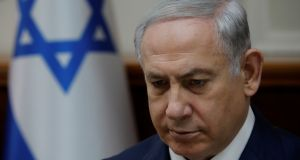 Israeli prime minister Binyamin Netanyahu:  police are expected to wrap up two separate graft investigations into Mr Netanyahu in the coming weeks. Photograph:  Amir Cohen/Reuters
