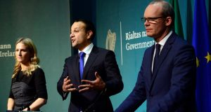 Taoiseach Leo Varadkar (c) and Tánaiste Simon Coveney with Helen McEntee during a Brexit press conference at Government Buildings earlier this month. Photograph: Cyril Byrne