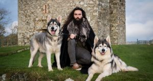 William Mulhall with Thor (left) and Odin who played direwolves in 'Game of Thrones'. Photograph: Liam McBurney/PA Wire