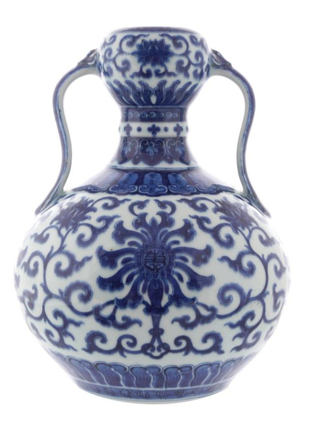 An 18th-century Chinese blue-and-white 'Qing Period' vase sold for €740,000 – 740 times its median pre-sale estimate